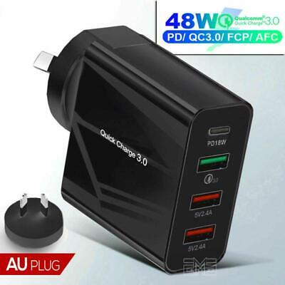 AU24.99 • Buy Qualcomm QC3.0 48W PD Fast Charging Charger Multi USB + Type C Wall Plug Adapter