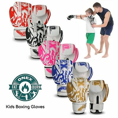 Boxing Gloves Kids Sparring Fitness Punch Bag Training KickBoxing MMA Mitts Gym • 10.99£