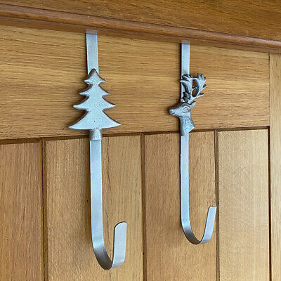 Christmas Wreath Door Hangers Silver Metal Garland Decoration Hanger Set Of 2 • 12.99£