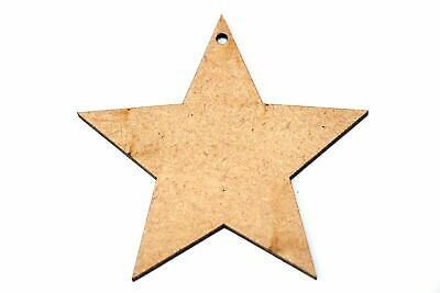 Wooden MDF Christmas Star Bauble Shape Bunting Craft Embellishments Decorations • 1£