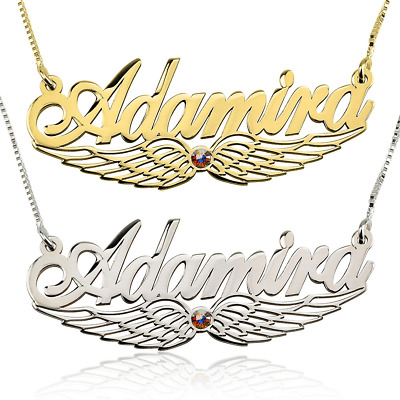 Angel Name Necklace - Custom Angel Wing Necklace - Birthstone Name Necklace • 32.53£