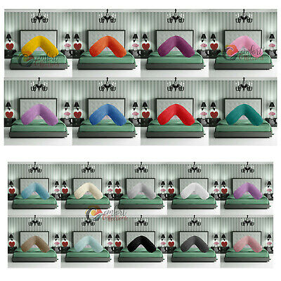 Teddy Fleece V Shape Pillow Cushion Case Cover Warm Soft Cosy Back Neck Support • 8.99£