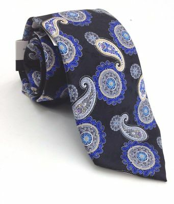 $12.99 • Buy Geoffrey Beene Classic Dress Tie 100% Silk Paisley Black Blue *NEW With Tag* $55