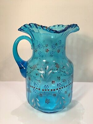 $29.99 • Buy Vintage Victorian Hand Painted Blue Glass Pitcher