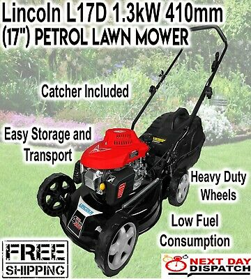 AU239 • Buy Lincoln L17D 1.3kW (17 ) Petrol Lawn Mower 4 Stroke Engine Soft Grip Handle New
