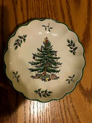 $12.50 • Buy Vintage  Spode Christmas Tree Small Round Fluted Dish -  England  # S3324-AO 16