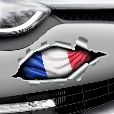 TORN RIPPED 3D EFFECT FRANCE FLAG French Novelty Car,Bumper Vinyl Decal Sticker • 2.35£