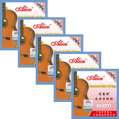 $ CDN16.57 • Buy 5 Sets Lot A103 High Tension Silver Copper Clear Nylon Classical Guitar Strings