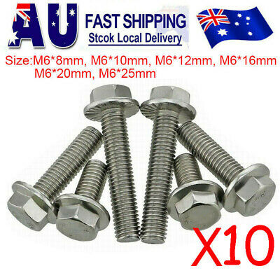 AU9.49 • Buy 304 Stainless Steel M6 Flanged Hexagon Screws Hex Head Bolts 8 10 12 16 20 25mm