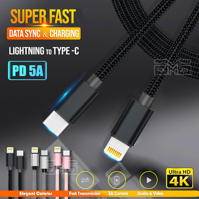 AU5.99 • Buy PD QC Fast Charging Lightning To USB Type C Cable Apple IPhone 11 Pro Max X IPad