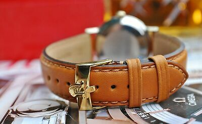 OMEGA GOLD OR SILVER PLATED BUCKLE ON 18mm TAN LEATHER WATCH STRAP-EXCELLENT! • 34.99£