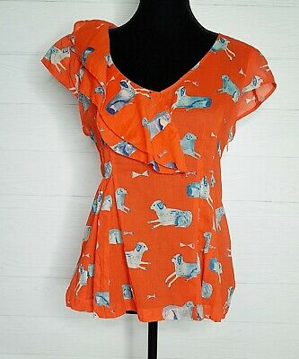 $ CDN32.50 • Buy Meadow Rue Antropologie Orange& Blue Dog Ruffle 100% Cotton Top Blouse Shirt 8