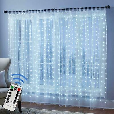 300 LED Fairy String Lights In/Outdoor Curtain Window Wedding Decor + Controller • 8.99£