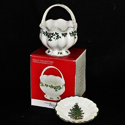 $14.98 • Buy Cuthbertson Christmas Tree Dish (6.25 ) W/ Madison & Max Holly Collection Basket