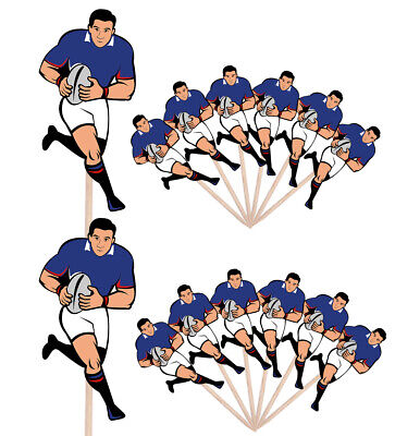 £4.99 • Buy Rugby Player Party Events Clubs Food Cake Picks Sticks Decorations Toppers Blue