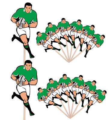 £4.99 • Buy Rugby Player Events Clubs Party Food Cake Picks Sticks Decorations Toppers Green