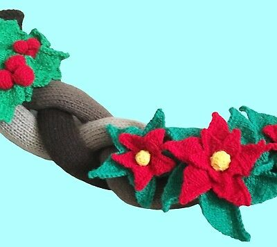 £2.60 • Buy Knitting Pattern 314:  Christmas Garland / Swag With Poinsettia And Holly