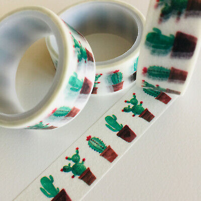 AU1.30 • Buy Washi Tape Cheap As Chips - Potted Cactus 15mm X 3mtr Planner Craft Mail Art