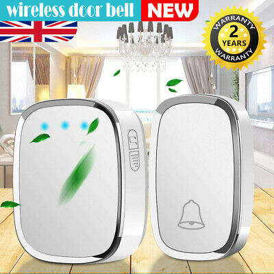 Wireless Door Bell Waterproof Wall Plug-in Chime Remote 300M 36 Tunes 25~85db UK • 9.29£
