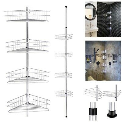 AU51.99 • Buy 4 Tier Bathroom Corner Shelf Shower Caddy Telescopic Pole Storage Organizer Rack