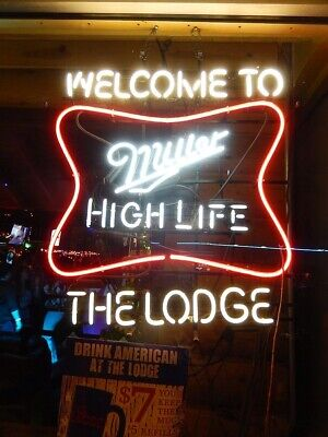 $244.49 • Buy Miller High Life Welcome To The Lodge Neon Light Sign 24 X20  Beer Decor Lamp