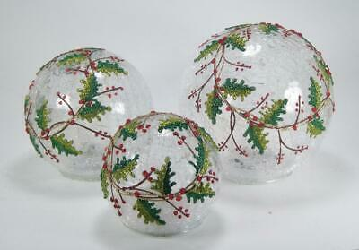 $70.36 • Buy LED Lighted Holly Berry Crackle Glass Globes Set Of 3 Indoor Christmas Decor