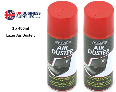 2 X 400ml Compressed Air Duster Spray Can Cleans Protects Laptops Keyboards Etc • 8.99£
