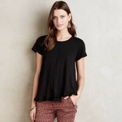 $ CDN34.01 • Buy Anthropologie Left Of Center Brown Ruffle Hem Short Sleeve Tee Top Size Small S