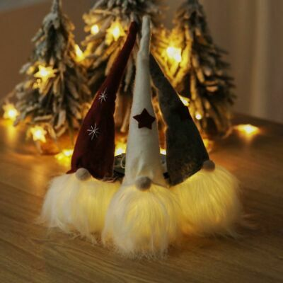 Long Hat LED Lighting Gnome Doll Christmas Decor Ornament Indoor Party Decor NEW • 7.56$