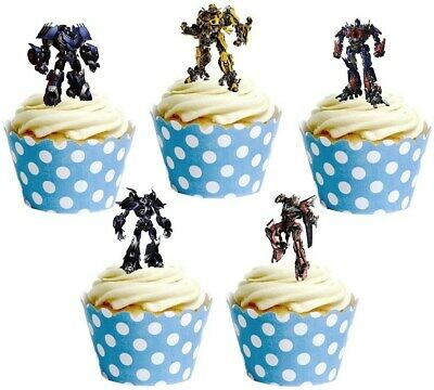 Transformers Stand Up Cup Cake Toppers Edible Birthday Party Decorations • 1.99£