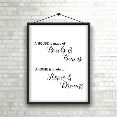 House Of Dreams Typography Print Poster Family Love Unframed Home Quote Gift • 3.39£