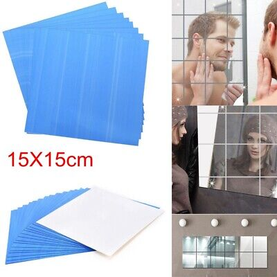 Glass Mirror Tiles Wall Stickers Square Self Adhesive Decor Stick On Art Home UK • 2.50£