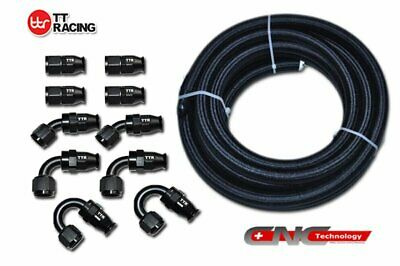 AU116.41 • Buy 8-AN AN8 Braided Steel PTFE Fuel Hose Black 20FT 6M + Swivel Teflon Fitting Kit+