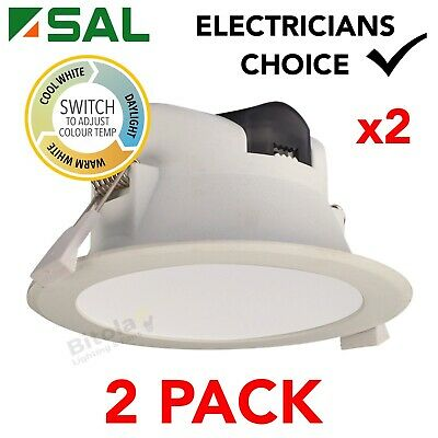 AU24 • Buy 2 X SAL WAVE S9065TC 9w LED DIMMABLE TRI-COLOUR CHANGING LED DOWNLIGHT WHITE KIT