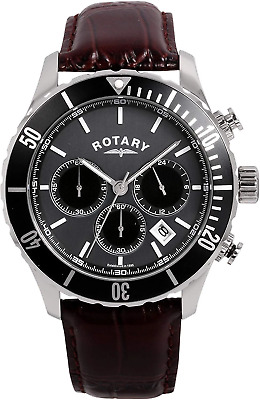 Rotary Men's Quartz Watch With Grey Dial Chronograph Display And Brown Leather S • 155£