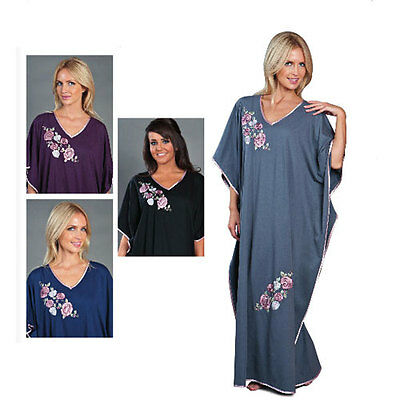 Womens Nightwear Embroidered Kaftan Nightdress Nightie Maxi Soft Jersey One Size • 18.95£