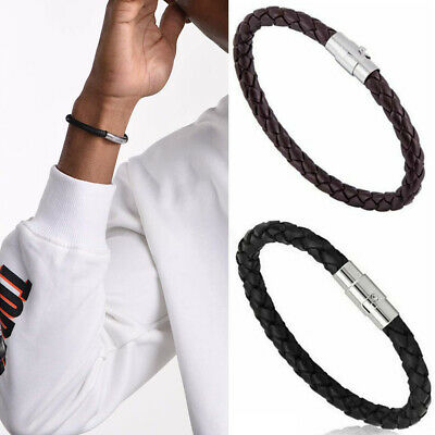 Fashion Mens Leather Wristband Braided Black Brown Bracelet Magnetic Clasp Gift • 1.99£