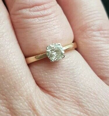 18ct Yellow Gold Solitaire 0.50ct Diamond Ring, Size K. Bought For £1,200 • 550£