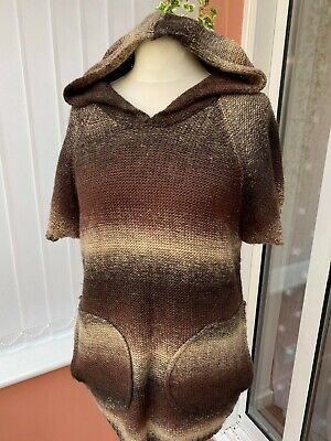 Brown Boho Hooded Knitted Wool Jumper Dress Tunic 10 Hippy Festival Medieval • 31.99£