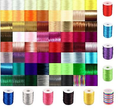 Rattail Cord 2mm Satin Nylon Thread 80 COLOURS Kumihimo Macrame 5 Meters/pack • 1.30£
