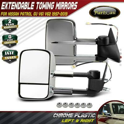 AU259.99 • Buy Chrome Extendable Towing Mirrors For NISSAN PATROL GU Y60/Y61/Y62 97 On