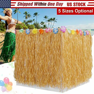 $7.54 • Buy Hawaiian Luau Table Grass Skirt  BBQ Party Decorations With Hibiscus Flowers US