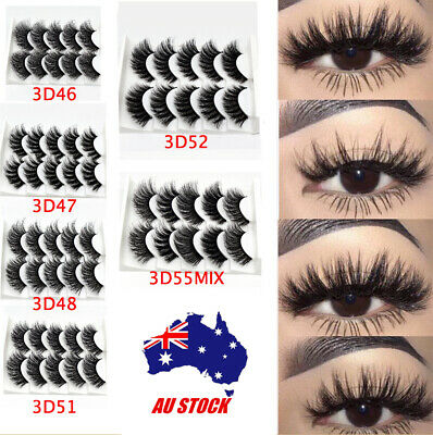 AU6.96 • Buy 5 Pairs Mink Natural Thick False Fake Eyelashes Eye Lashes Makeup Extension 3D