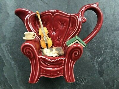 Vintage Park Rose Pottery - Queen Anne Chair With Cat, Violin - Perfect • 16.99£