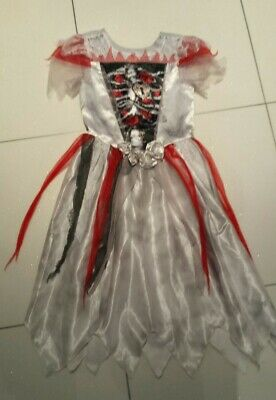 Girls Zombie Bride Halloween Costume And Wig - Age 7-8 • 6£