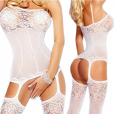 $6.71 • Buy Sexy-Lingerie-Bodystockings-Women-Sleepwear-Babydoll-Lace-Nightwear-Stockings-GM