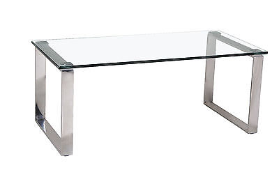 Coffee Table Clear Tempered Glass Rectangle Top Two Stainless Steel Legs  • 84.99£