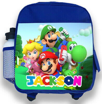 Personalised Kids Blue Backpack Any Name Super Mario Boys Childrens School Bag 2 • 14.99£