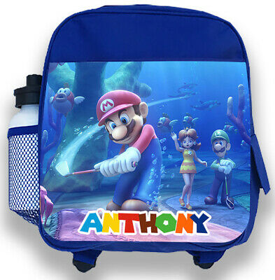 Personalised Kids Blue Backpack Any Name Super Mario Boys Childrens School Bag 5 • 14.99£