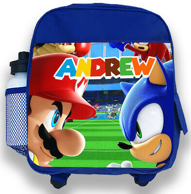 Personalised Kids Blue Backpack Any Name Sonic Mario Boys Childrens School Bag 1 • 14.99£